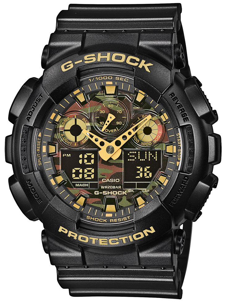 casio g shock herren uhr ga 100cf 1a9er face camouflage watch. Black Bedroom Furniture Sets. Home Design Ideas